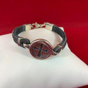 """James Avery RETIRED 925 Black Leather Bracelet 7"""""""